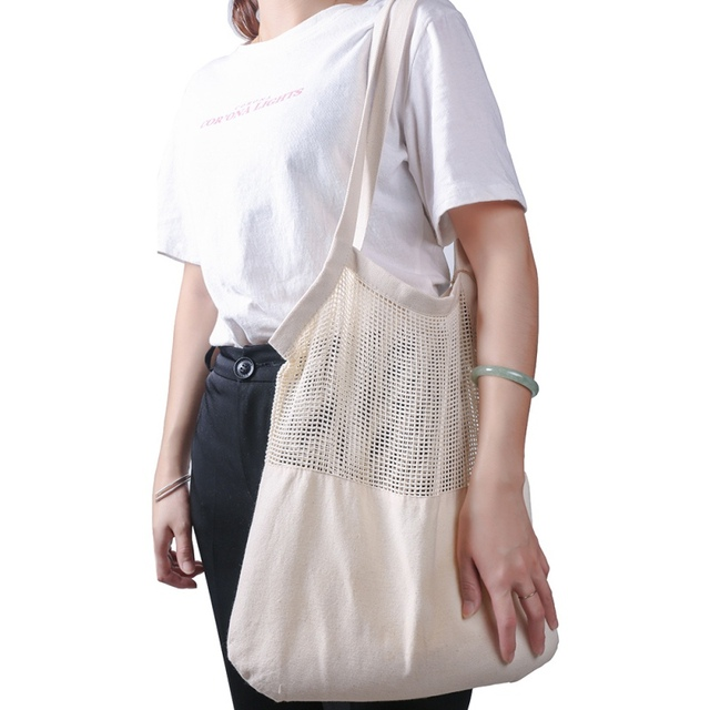 Eco friendly Vegetable Storage Bag reusable Cotton Net Bag For Fruit Vegetable Cotton Shopping Bags With Long Handle 2