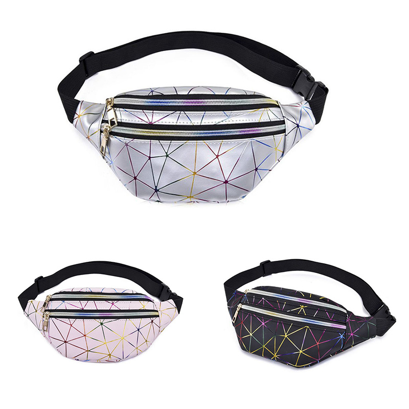 2019 Holographic Waist Bags Women Pink Silver Fanny Pack Female Belt Bag Black Geometric Waist Packs Laser Chest Phone Pouch