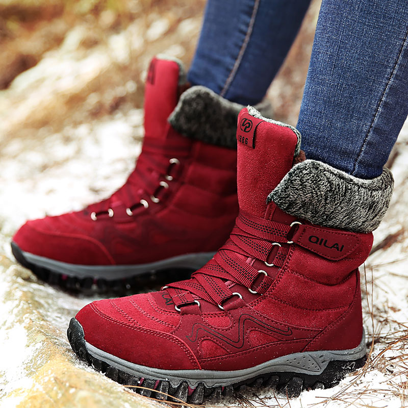 Women's Winter Boots Wedges Cow Suede Warm Snow Boots Ladies Plush Solid Ankle Boots Female Cross Tied Platform Shoes Woman