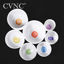 CVNC  Chakra tuned set of 7pcs 6 - 12 Frosted Quartz Crystal Singing Bowl