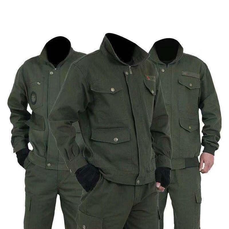 Mens Set 2PC Wear Resistant  Work Clothes Set  Zipper Autumn Sportswear Casual Tracksuit Male 2019 Sweatshirt Tooling Jacket