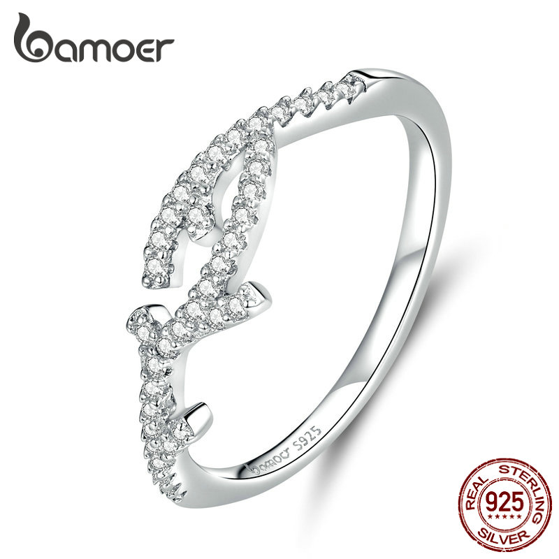 Bamoer Wedding Jewelry Branch Clear CZ Finger Rings For Women 925 Sterling Silver Luxury Engagement Statement Bijoux BSR089