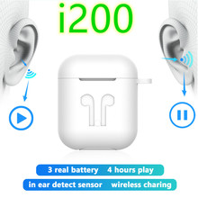 TWS i200 bluetooth earphone PK W1 H1 Sensor Tap control Earbuds Wirless charging