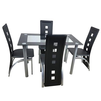 110cm Dining Table Set Fashion Tempered Glass Dining Table With 4pcs Chairs Coffee Table Conference Table Home Furniture 1