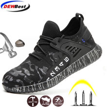 DEWBEST Work Safety Shoes Anti-pierce Building Site Worker Security Work Boots Men's Casual Breathable Mesh Steel Toe Cap(China)