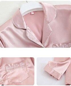 Image 5 - Lady 7PCS Pajamas Suit Satin Sexy Long Sleeve Pijamas Sleepwear Lounge Casual Sleep Set Loose Lapel Nightwear Kimono Robe Gown