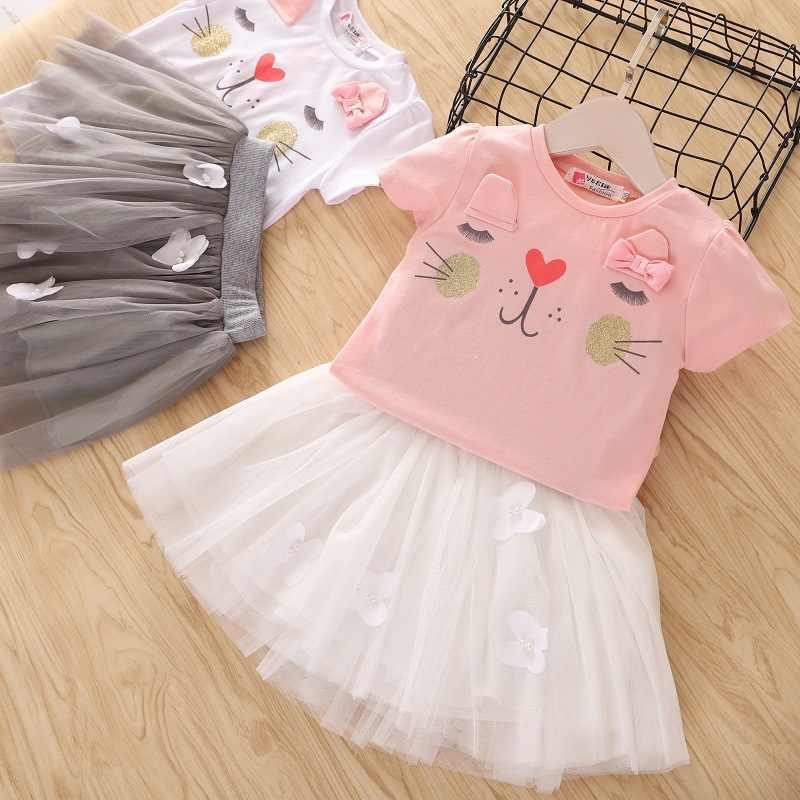 פעוטות בנות בגדים סטי 2020 קיץ בנות בגדי חולצה + חצאית ילדים בגדי ספורט חליפת עבור בנות תלבושות בגדי ילדים