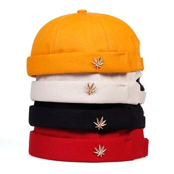 Men Women Skullcap Sailor Cap Leaf Rivet Embroidery Warm Rolled Cuff Bucket Cap Brimless Hat Solid Color Adjustable Cotton Hats