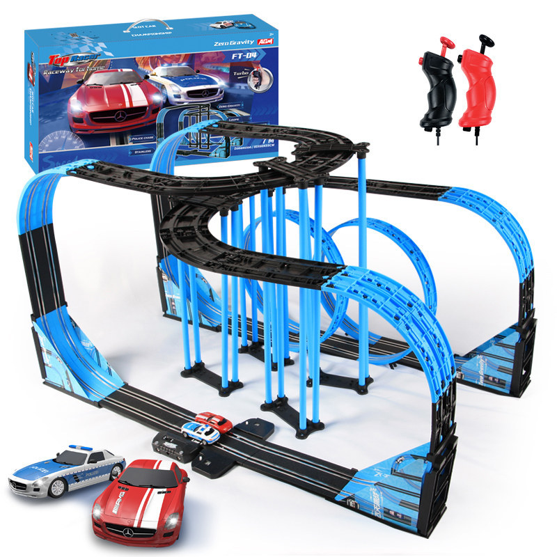 Electric Train Track Toys Railway Suit Double Autorama Circuit Voiture Racing Flying Track Rail Transit Slot Car Children Toys