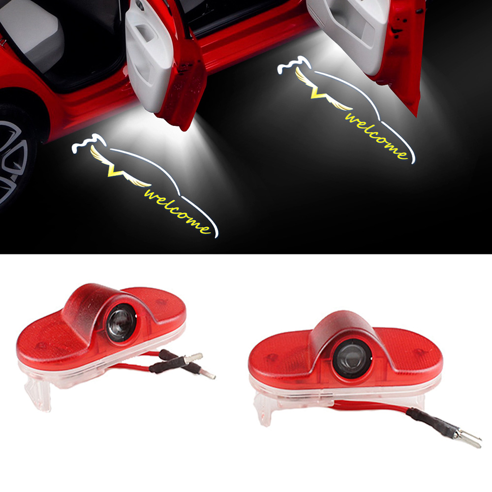 1-20 Pair Angel Wing Logo Car Door Welcome Light For Skoda Octavia LED 12V Ghost Badge Shadow Projector Car Tuning Accessories