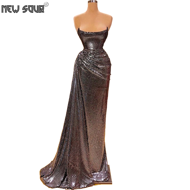 Illusion Strapless Prom Dress 2020 Robe De Soiree Handmade Sequins Long Women Party Gown Saudi Arabia Evening Dresses Kaftans