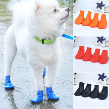 4Pcs Pets Boots Waterproof Rubber Rain Shoes Non Slip Outdoor Dog Puppy Candy Color