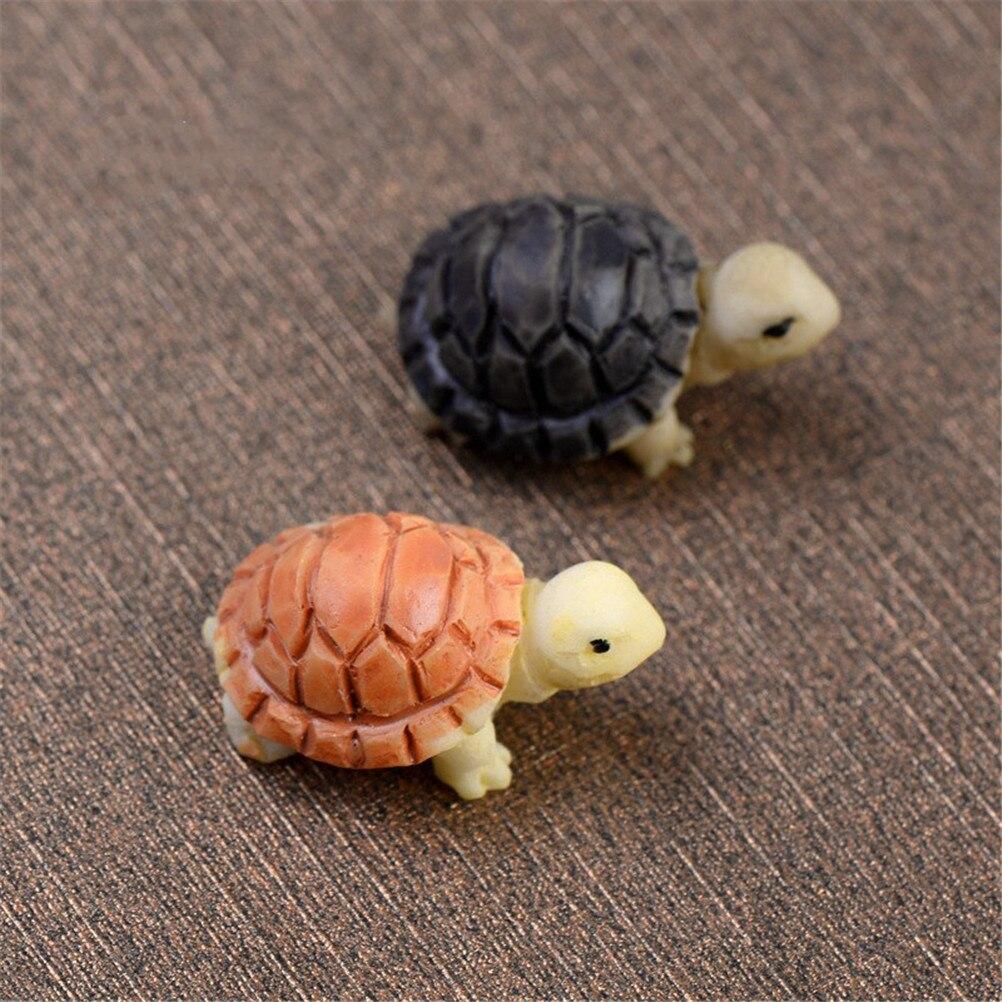 2PC Lovely Miniatures Turtles DIY Micro Fairy Figurines Garden Decor Accessories