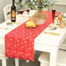 Christmas Decoration Linen Printed Table Flag Tablecloth Tablecloth Placemat Table setting Snow wallpaper Table Runner Christmas(China)