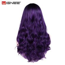 Wignee faliste włosy peruka syntetyczna dla kobiet żaroodporne środkowa część codzienny/impreza/Cosplay długie ciało naturalne włosy fioletowe peruki