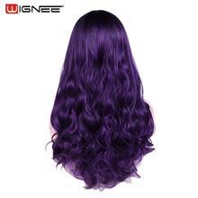 Wignee גלי שיער סינטטי פאה עבור נשים חום עמיד התיכון חלק יומי/מסיבה/קוספליי ארוך גוף טבעי שיער סגול פאות
