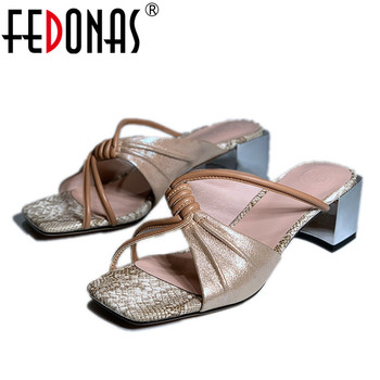 FEDONAS Lace Up Pink Sandals Women Genuine Leather Thick Heels Pumps Elegant 2020 Summer New Arrival Party Wedding Shoes Woman