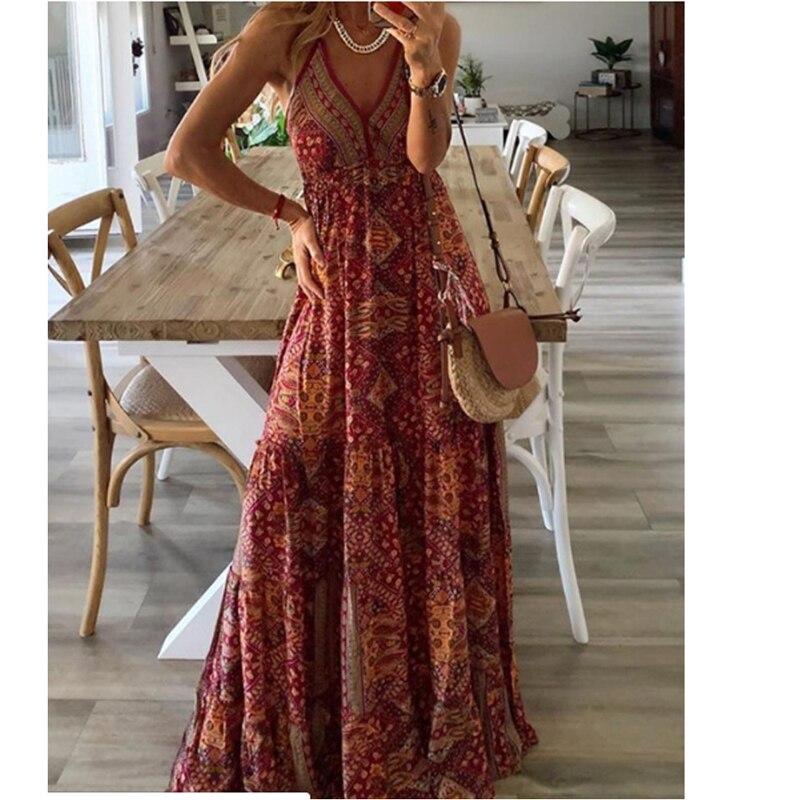 2021 frauen Kleid Boho Vintage Sommerkleid Maxi Floral Print Midi Ärmellose Tiefen V-ausschnitt Lose Hohe Taille Sommer Strand Kleidung