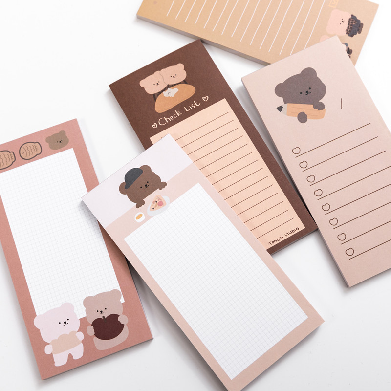 50 Sheets Cute Korean Biscuits Bear Memo Pad Message Notes Decorative Notepad Note Check List Memo Stationery Office Supplies