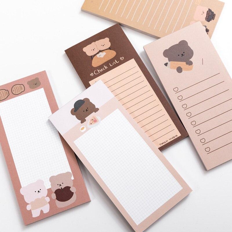 50 arkuszy śliczne koreańskie herbatniki niedźwiedź notatnik wiadomość notatki dekoracyjne notatnik uwaga sprawdź listę Memo papiernicze artykuły biurowe