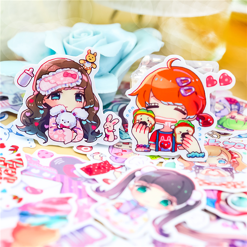 Stickers 40pcs Cute Girl Paper Stickers Scrapbooking Decoration DIY Toy PhoneAblum Diary Label Sticker Kawaii Stationery
