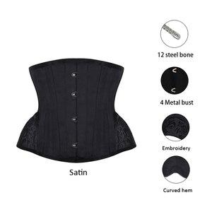 Image 2 - Espartilho burvogue, espartilho gótico, controle de cintura, steampunk, com bainha curva, bordado, treinador de cintura curta