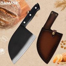 Adamaszek Chef nóż rzeźnicki 7 Cal Full Tang tasak do mięsa siekacz do warzyw noże kuchenne serbski nóż ze skórzanym pudełkiem tanie tanio damask STAINLESS STEEL Ekologiczne DC-76 Ce ue Lfgb Chef noże 7 Inch High Carbon Clad Stainless Steel Hardened Pakawood Handle