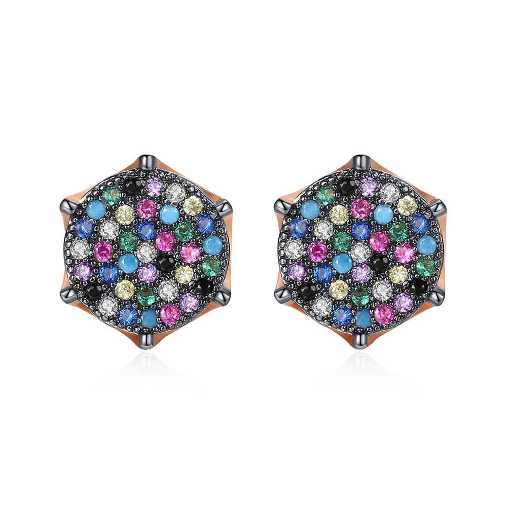 JINSE 10MM Punk Mens Multicolor Cubic Zirconia Iced Stud Earrings Hip Hop Copper Bling CZ Geometric Earring Fashion Jewelry