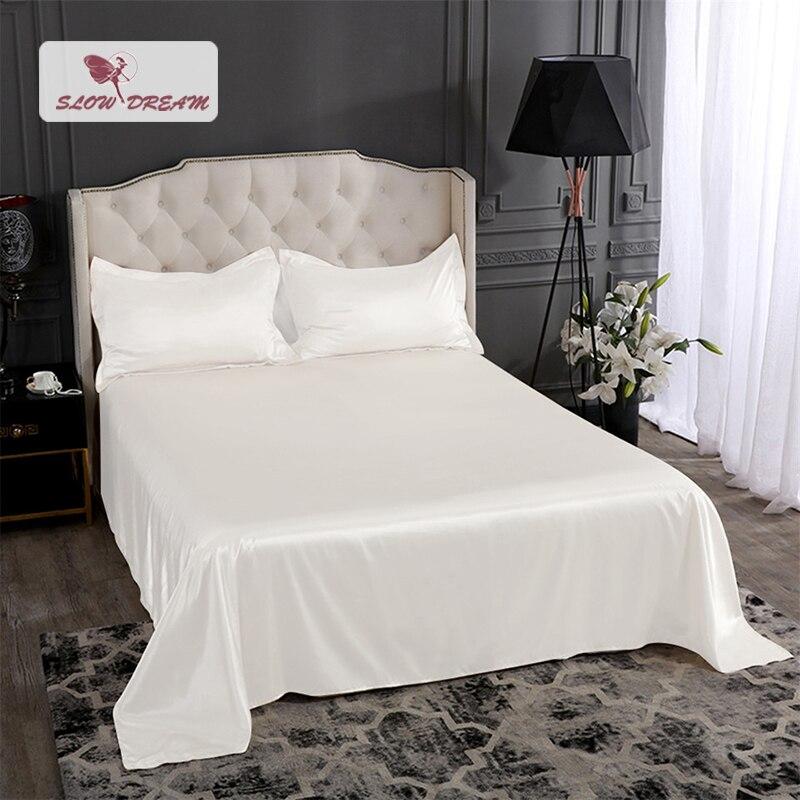 Slow dream luxe blanc 100% soie drap de lit soyeux taie d'oreiller drap plat Double reine roi linge de lit ensemble sommeil sain pour la famille