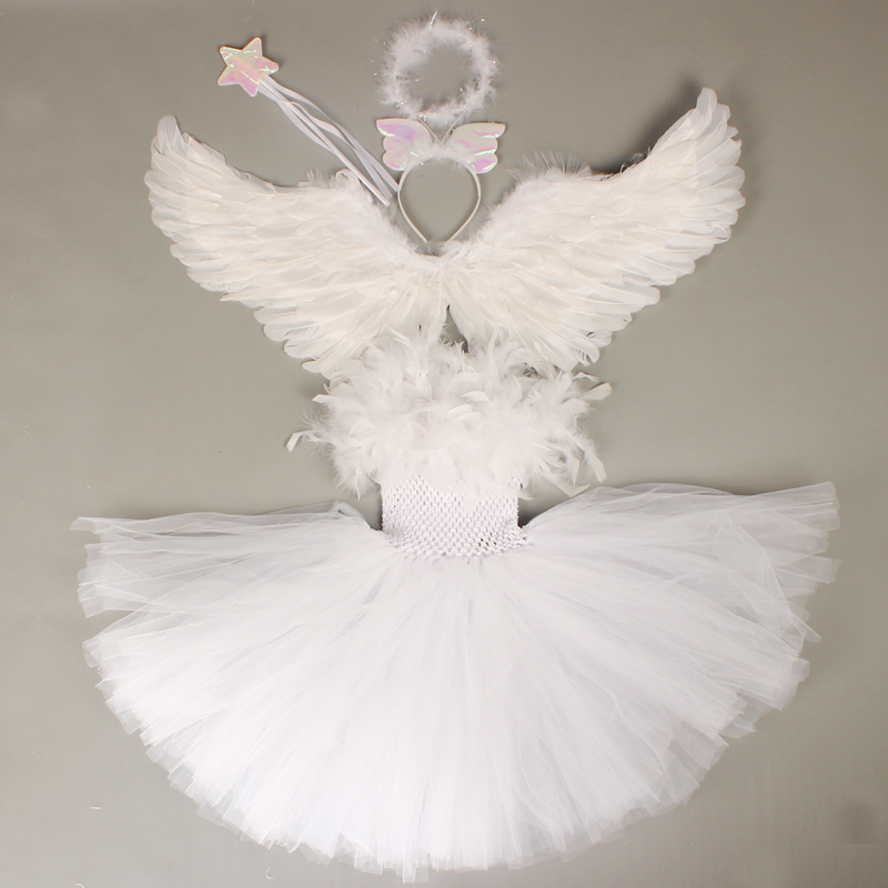 Guardian Angel Kids Halloween Costume White Feather Angel Girls Tutu Dress with Wings & Halo Christmas Nativity Gabriel Clothes (7)