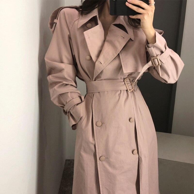 Двубортный Женский Тренч, весна осень 2020, белый длинный Тренч в британском стиле, женское модное однотонное пальто с поясом|Тренч| | - AliExpress