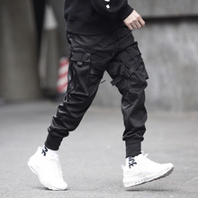Men Ribbons Color Block Black Pocket Cargo Pants Harem Joggers Harajuku Sweatpant Hip Hop Trousers