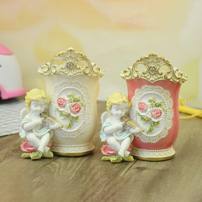 Cute Angel Pen Holder Pencil Pot Makeup Brush Storage Tube Resin Crafts Student Desk Stationery Supplies Organizer