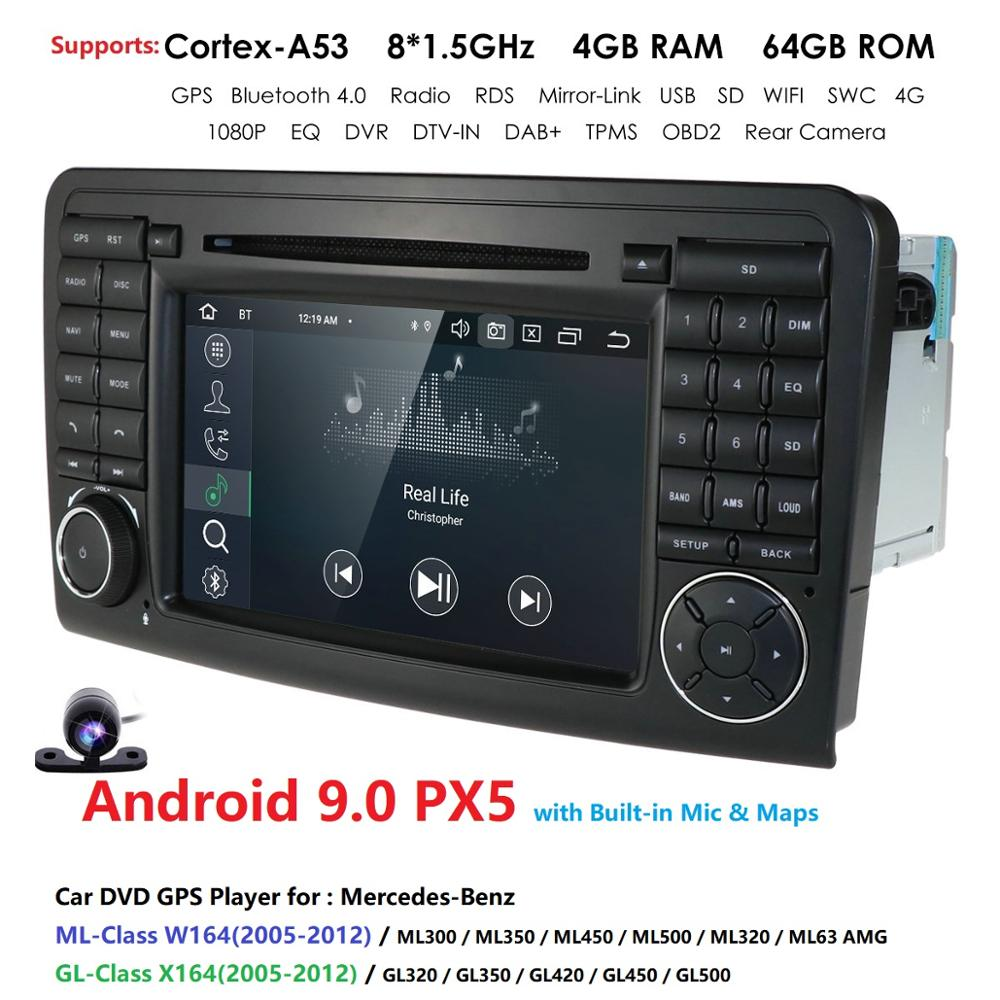 2Din 7''Android 9.0 Octa Core Car DVD Player For <font><b>Mercedes</b></font>/Benz/<font><b>ML</b></font>/GL CLASS <font><b>W164</b></font> ML350 ML500 GL320 DSP IPS RDS WIFI 4G DAB Canbus image