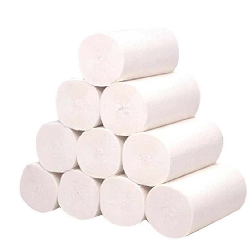 10 Rolls 4 Ply Toilet Paper Bulk Rolls Bath Tissue Home Bath Paper  White Soft Small Roll Hotel Paper Raw Wood Pulp
