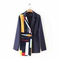 2019 Autumn New Fashion Print Splicing Belt Suit Coat Womens Blazers Black Blazer Women Elegant Womens Blazer Casual Long