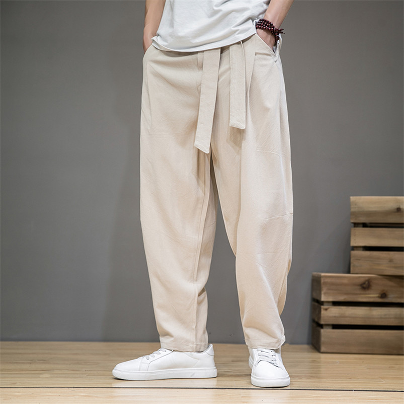 Men's Summer Cotton Linen Casual Pants Comfortable Soft Fashionable Trousers Elastic Waist Wide Leg Pants Japan Style Men Pants