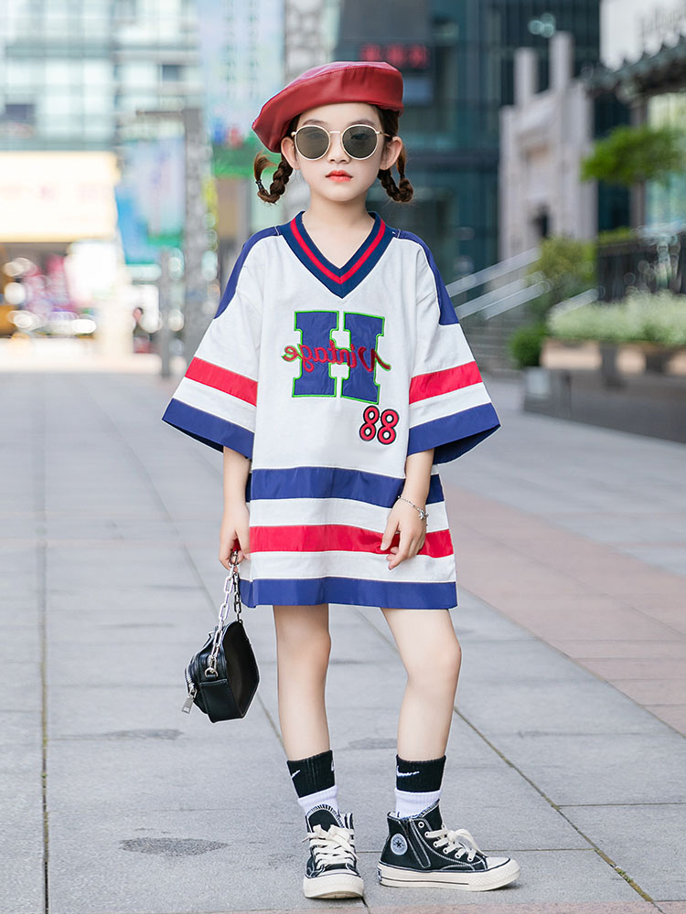 <font><b>Girls</b></font>' summer <font><b>dress</b></font> 2020 new children's <font><b>dress</b></font> <font><b>girl</b></font> princess children's clothing big boy foreign sports <font><b>T</b></font>-<font><b>shirt</b></font> <font><b>dress</b></font> image