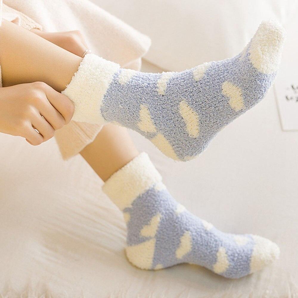 1 Pair Candy Color Heart Floor Socks Casual Keeping Warm Fluffy Unisex Cosy Thermal Sleeping Wear Fleece Leg Warmer Girl Socks