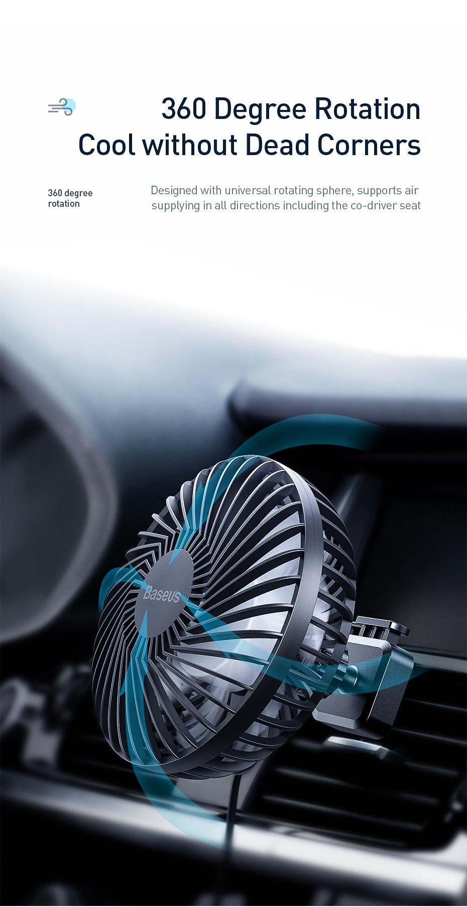 Baseus Air Vent Mounted USB Fan 3 Speed Air Cooling Fan For Car Air 3