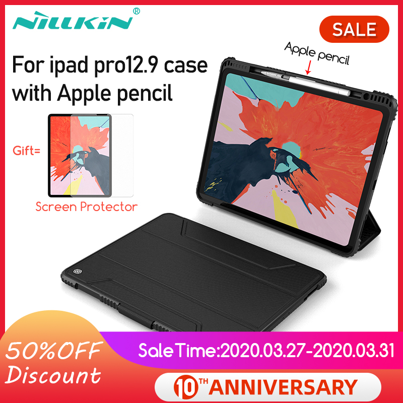 NILLKIN Case For IPad Pro 12.9 2018 With Apple Pencil PU Leather Smart Magnetic Cover Case Stand For Ipad 10.2 /Pro 10.5/Pro 11