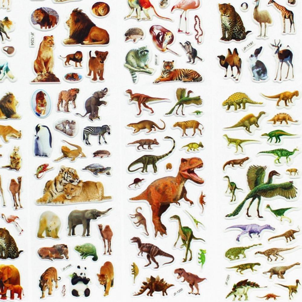 10 Sheets/set Wildlife Wild Animals Scrapbooking Bubble Puffy Stickers Tigers Lions Stickers Kawaii Reward Kids Toys