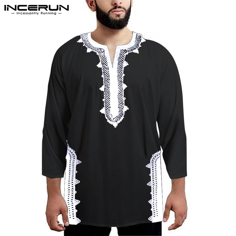 INCERUN Long Sleeve Men African Dashiki T Shirts Print Ethnic Style V Neck Tops Loose Casual T-shirts Men African Clothing 2019