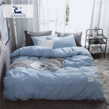 Liv-Esthete Luxury Blue Solid Bedding Set Soft Printed High Quality Duvet Cover Flat Sheet Double Queen King Bed Linen