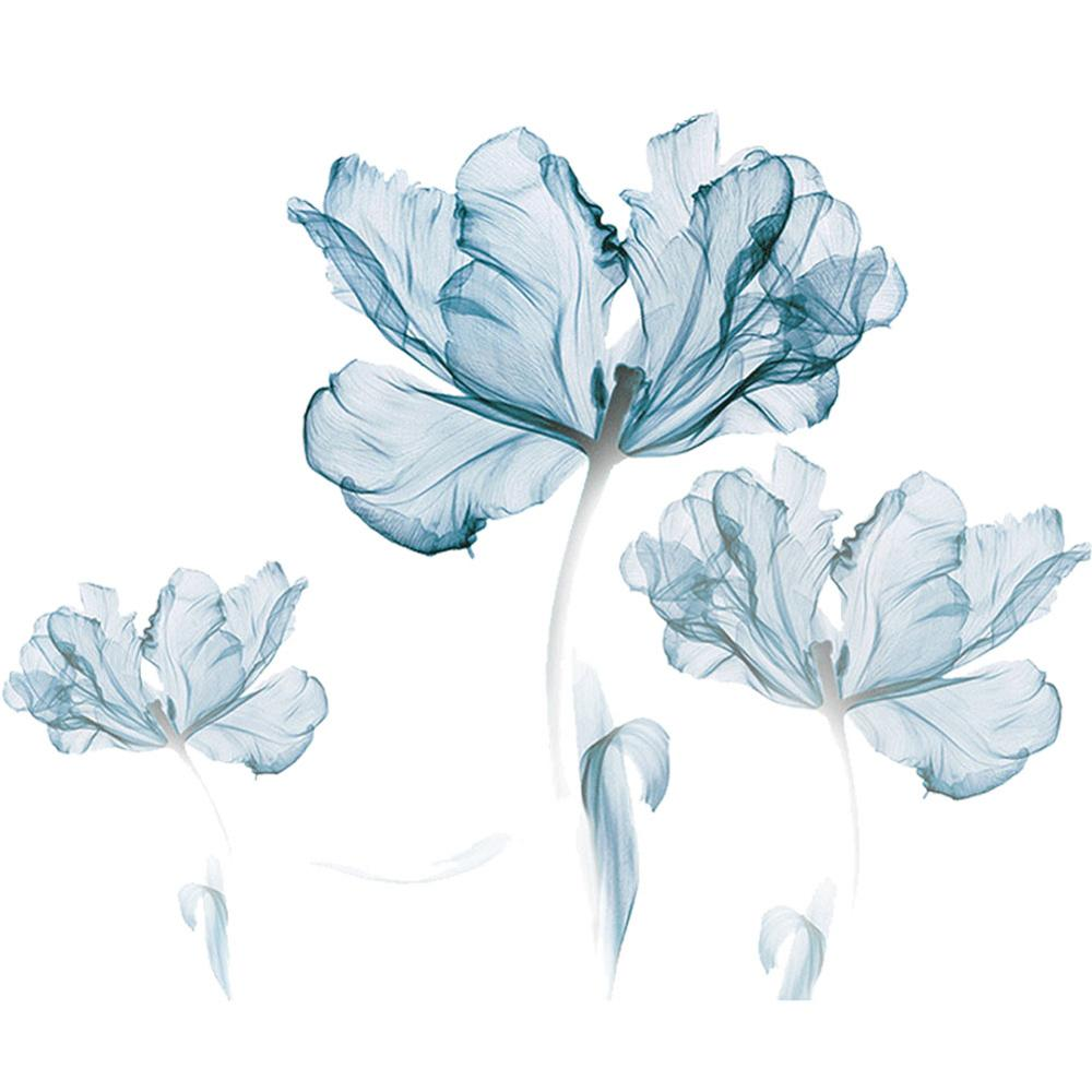Fresh Blue Flowers Wall Stickers Bedroom Living Room Sofa TV Background Decoration Art Mural Plant Stickers Home Decor Wallpaper