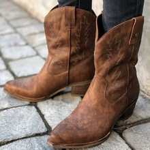 New Classic Embroidered Western Cowboy Boots for Women Leather Cowgirl