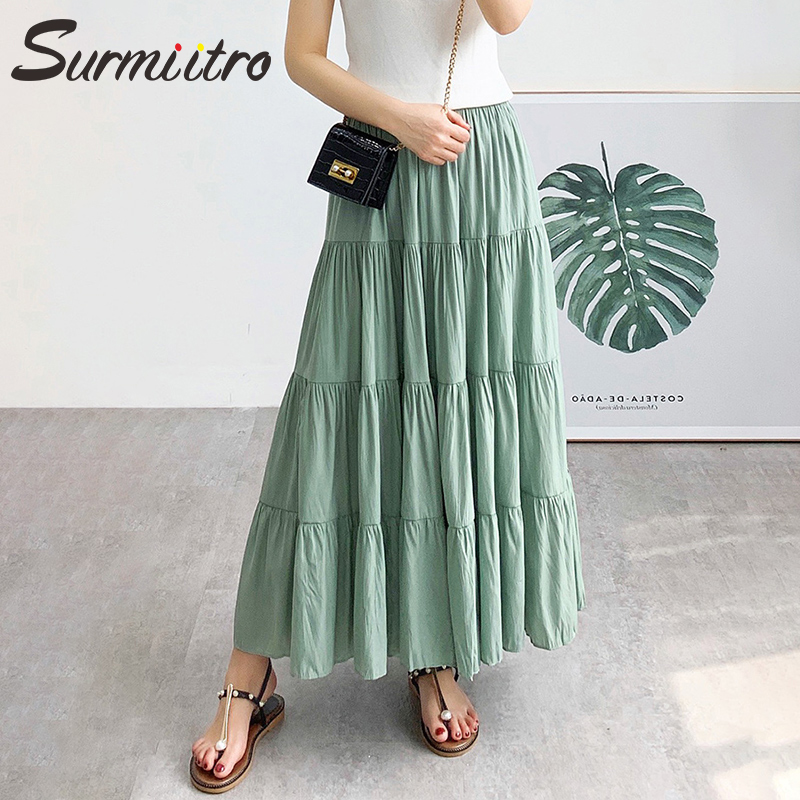 SURMIITRO Long Pleated Skirt Women 2020 Summer Autumn Fashioon Korean Black Green High Waist Sun School Maxi Skirt Female