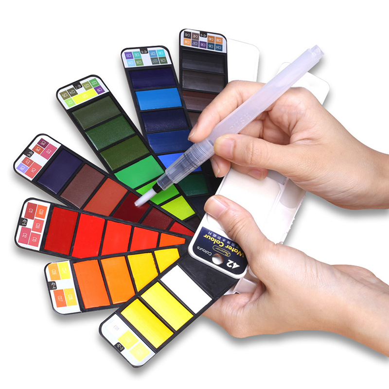 Promotion 18/25/33/42 couleurs solide aquarelle peinture pliable ensemble avec pinceau à eau stylo aquarelle Pigment pour dessiner Art Supplie