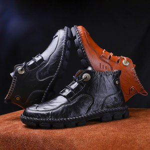 Image 4 - Mens Ankle Leather Boots 2019 Autumn Winter Men Shoes Quality Real Leather Men Vintage British Military Boots Plus Size 38 48