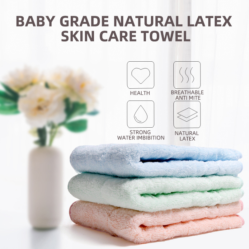 Anti-mite Absorb Water Strongly Easy To Dry Natural Latex High Absorbent Face Towel Thick Cotton Solid Bath Towel